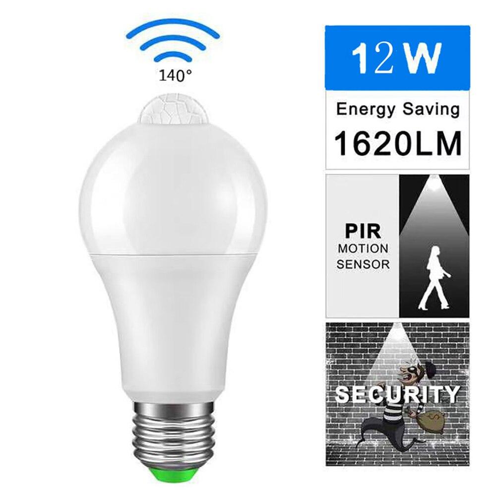 AC100-240V Bombilla LED E27 6W/12W lámpara de inducción con Sensor de movimiento para jardín porche garaje subterráneo pasillo escaleras iluminación