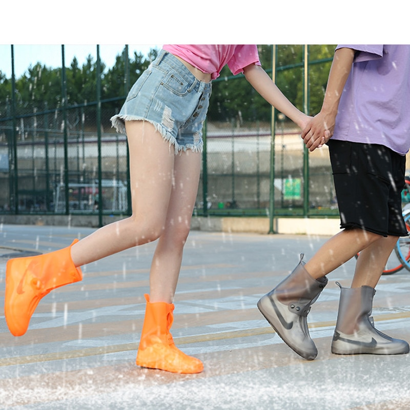 high quality Women Man PVC Integral Mould Waterproof Reusable high Rain Shoe Cover Rain Boot Anti-skid dustproof Shoes Covers