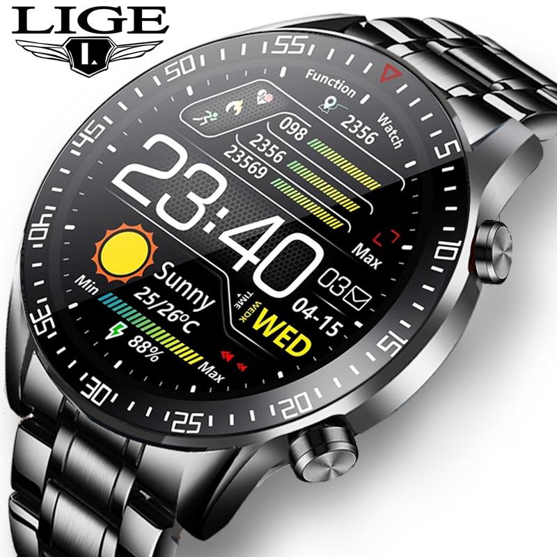 LIGE-ساعة رياضية رقمية للرجال ، سوار فولاذي ، شاشة LED ، مقاومة للماء ، بلوتوث ، 2021