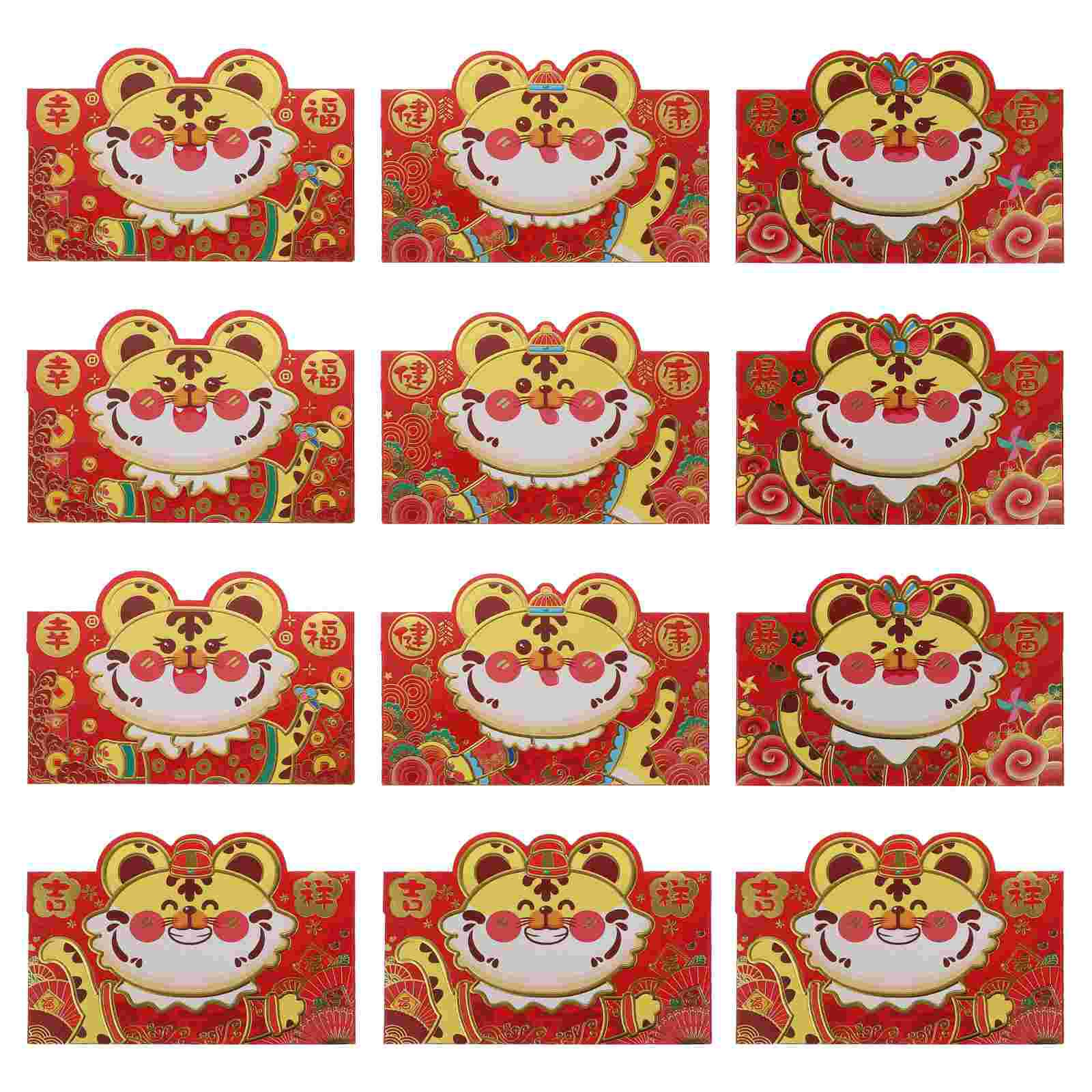 12Pcs Year of The Tiger 2022 Cartoon Three-dimensional Red Envelope for Festival