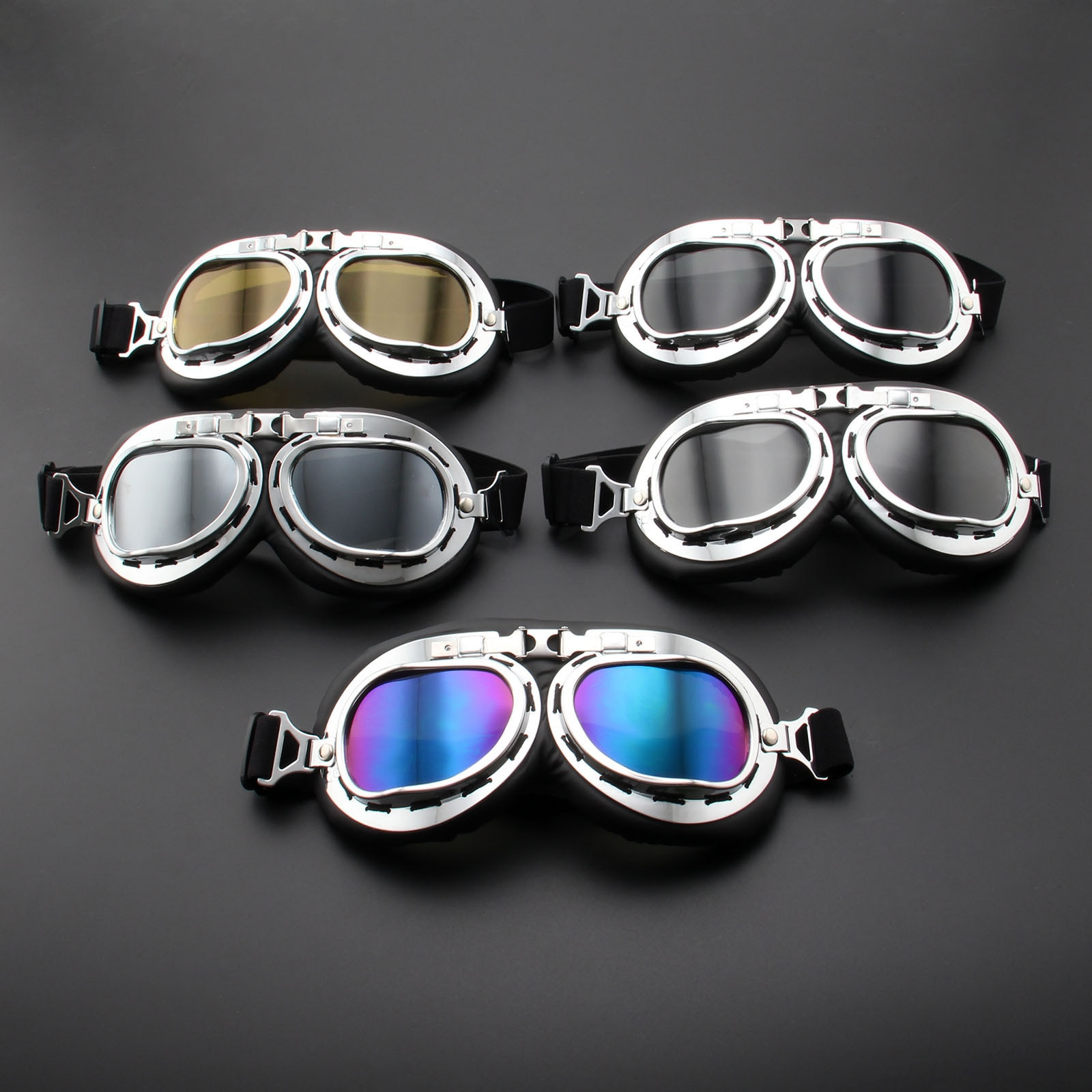 New Vintage Retro Motorcycle Goggles Glasses Vintage Moto Classic Goggles for Pilot Steampunk ATV Bike Copper Helmet vintage motorcycle motocross goggles pilot motorbike mx flying goggles leather glasses atv retro helmet for cycling pit bike