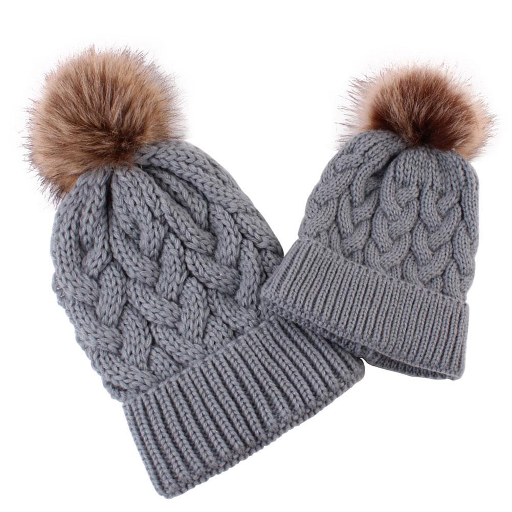 2 Pcs Women Kids Knitting Hat Cap Crochet Warm Breathable for Winter Outdoor SAL99