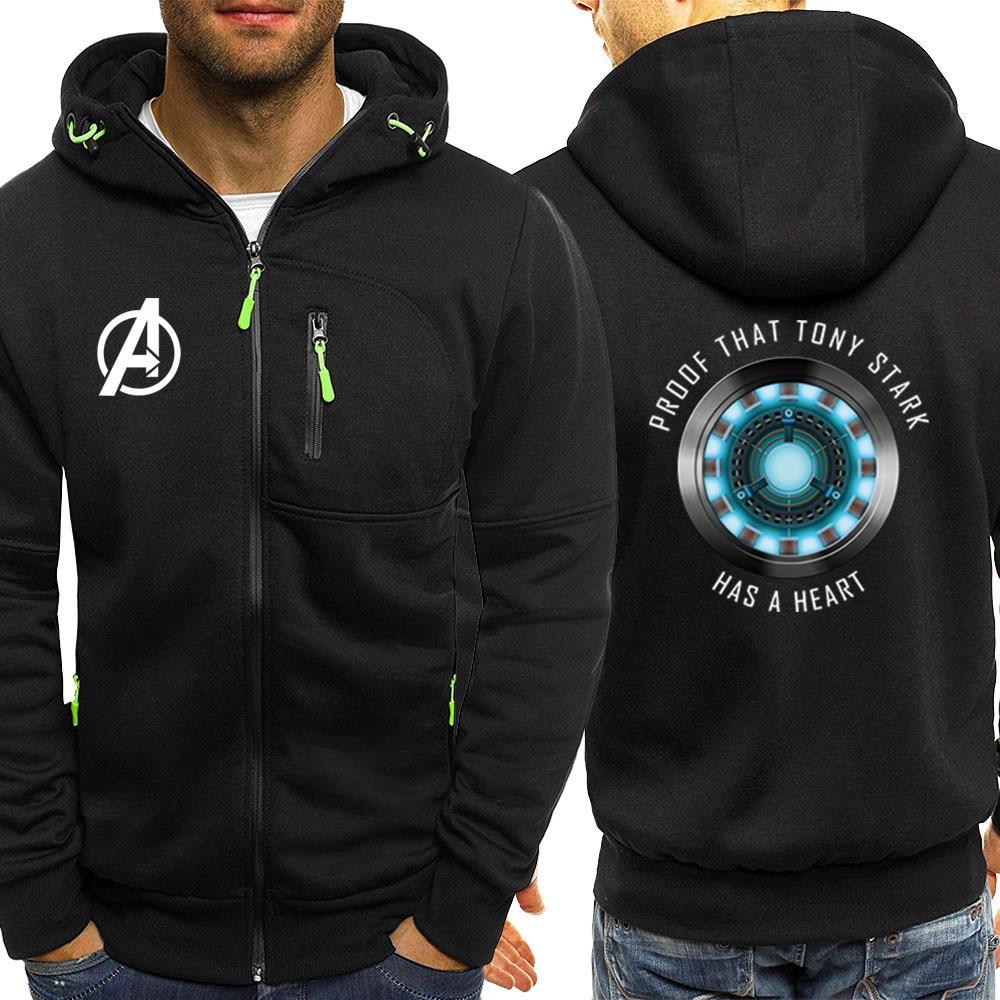 Los Vengadores Tony Stark iron Man chándal otoño Hoodies Mens Casual Coat Fleece Marvel chaqueta hombres cremallera sudadera Streetwear