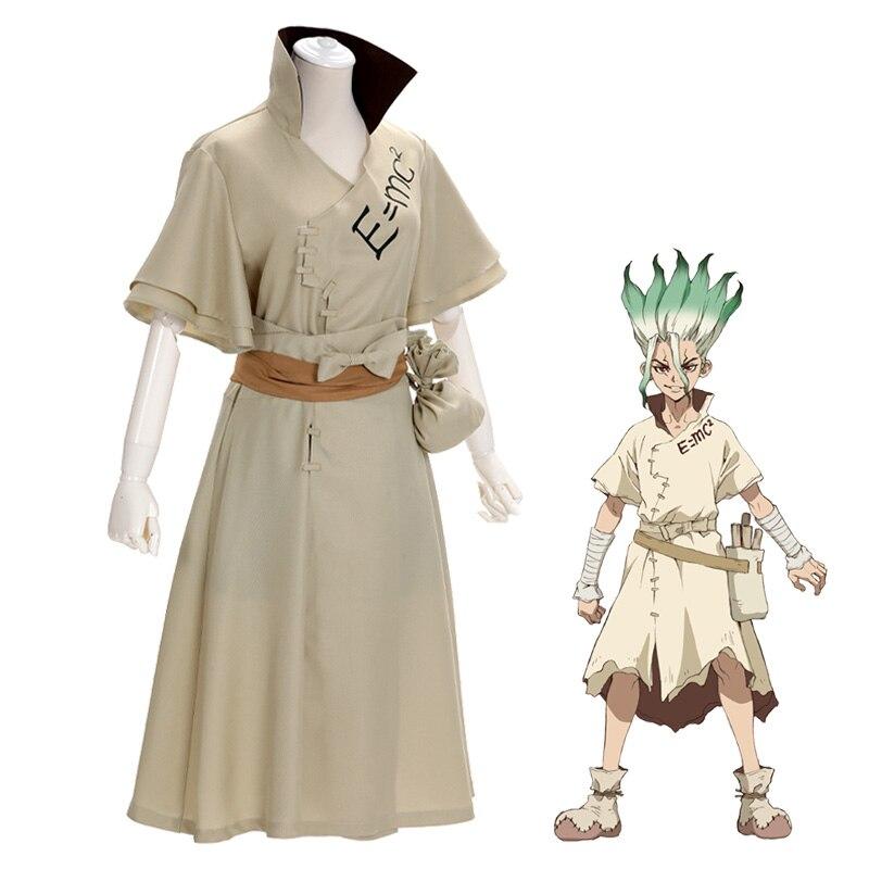 Anime dr. pedra senku ishigami cosplay traje senku adulto branco masculino conjunto completo festa de natal trajes peruca