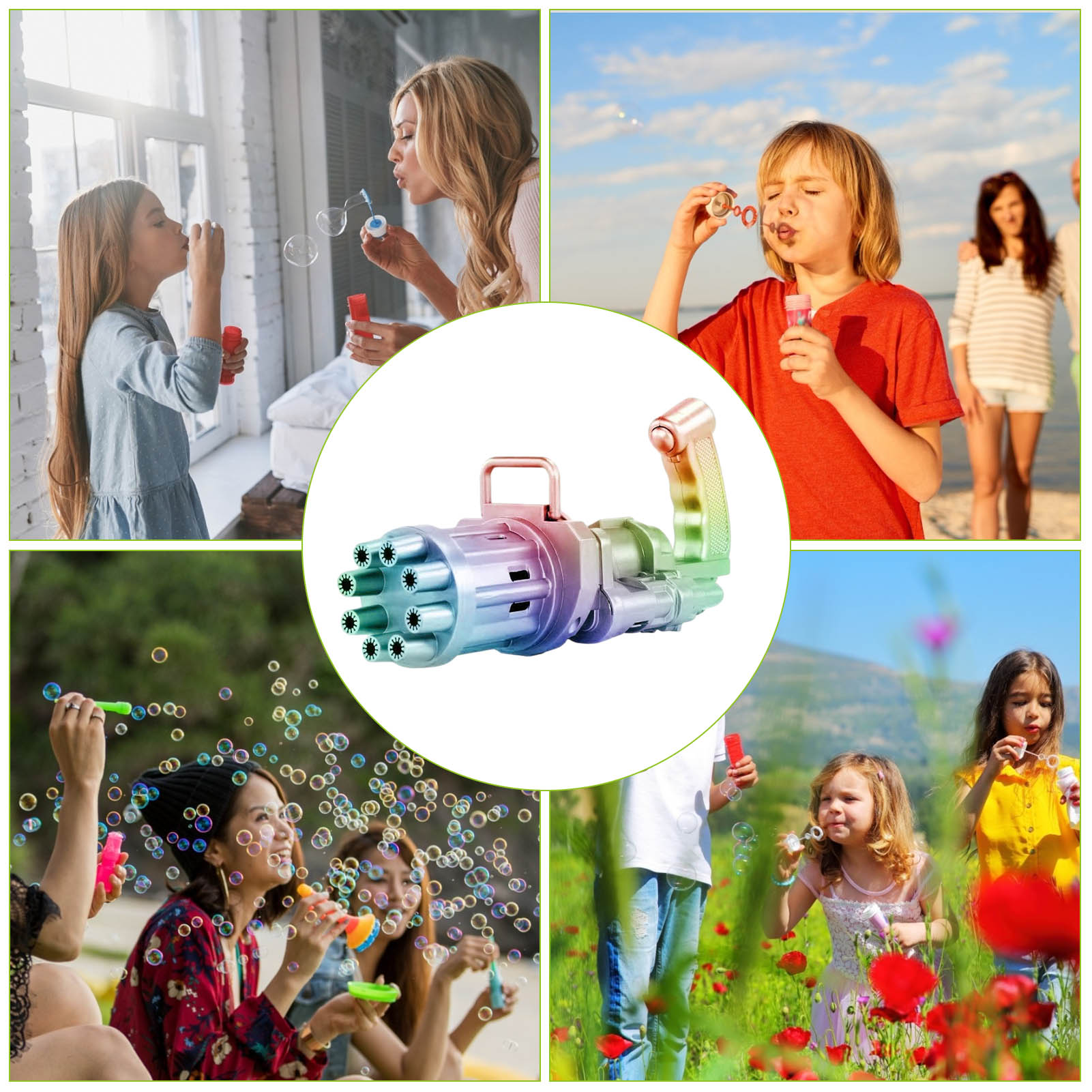 Kids Gatling Bubble Gun Toys Bubble Gun Strong Tightness Bubble Maker Summer Outdoor Automatic Bubble Blower Wedding Props  - buy with discount