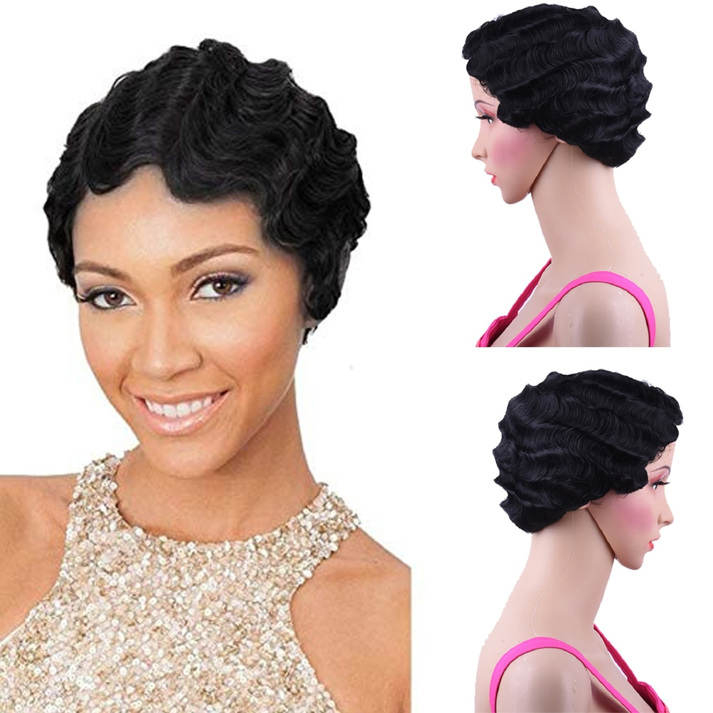 Short Curly Synthetic Wig For Black Women Heat Resistant Brown Blonde Bug African American Pixie Cut Mommy Finger Wave Wig