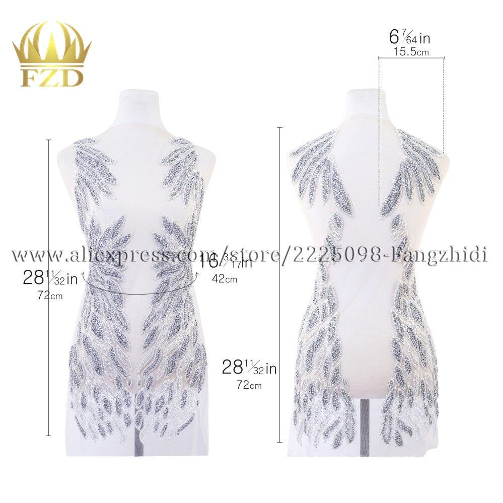 FZD, 1 juego hecho a mano, cosido en diamante de imitación, corpiño delantero y trasero, parche para vestido de novia, parche para el cuerpo, apliques para Show, costura para disfraces