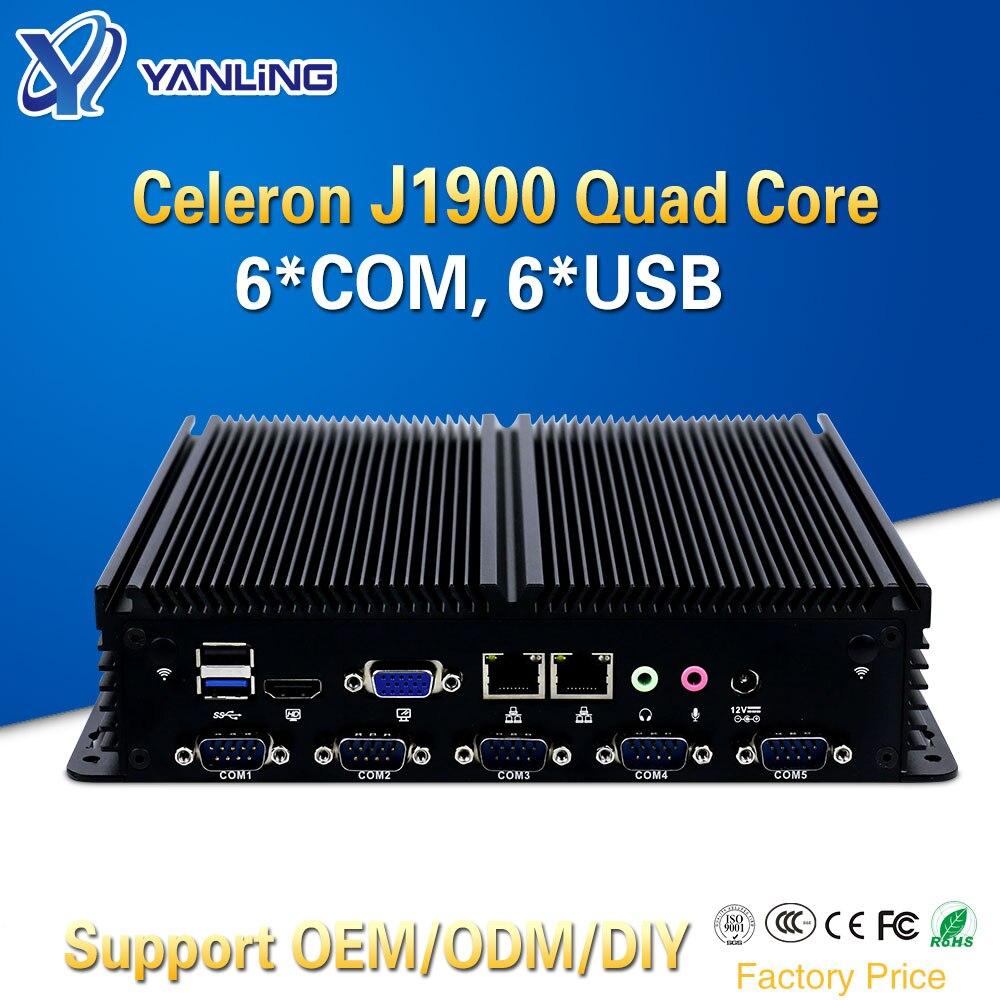 Minisys barato sin ventilador mini linux PC Intel celeron J1900 quad core barebone ordenador industrial embedded SIM ranura soporte 3G/4G