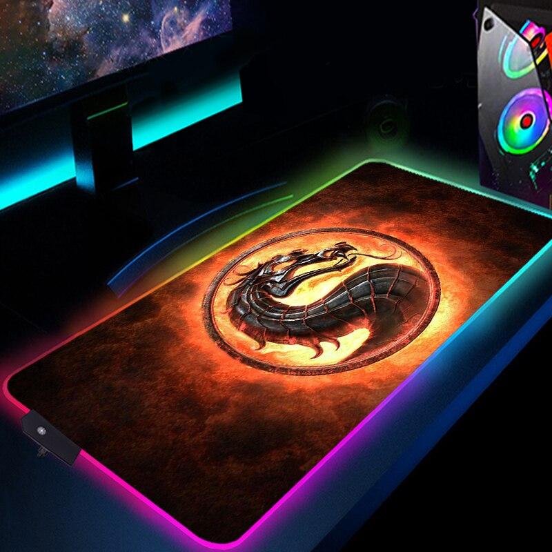 RGB مورتال كومبات ماوس الوسادة أنيمي LED الألعاب اكسسوارات سرعة لعبة ألعاب الكمبيوتر لوحة المفاتيح السجاد دفتر كمبيوتر محمول حصيرة مكتبية Mousepad
