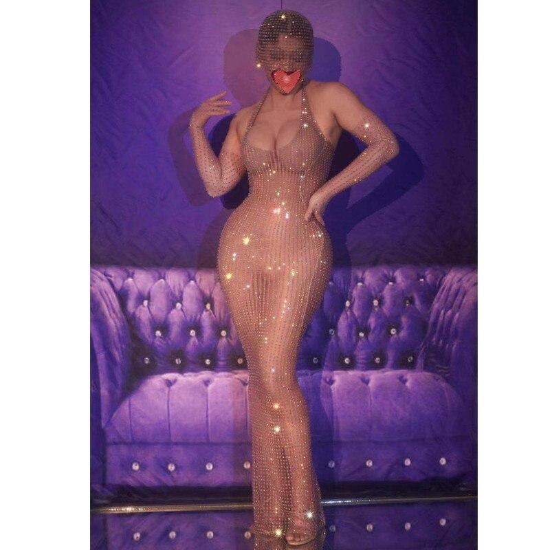 شبكة عارية اللون الراين شفافة مثير طويلة اللباس النساء حفلة موسيقية عيد ميلاد احتفال المغني نموذج المرحلة زي انظر من خلال