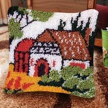 Beautiful Scenery Button Package Carpet Embroidery Pillow DIY Foamiran for Needlework Latch Hook Cartoon Animals Pillow Mat Pad