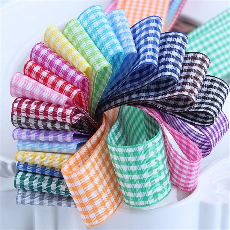 10mm 25mm Lattice Plaid Ribbons Bow Ribbon Gift Wrapping Polyester Ribbon Handmade DIY Accessories,5 yards / lot