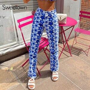 Sweetown 2021 синий Цветочный принт тонкий Y2K Джинсы женские Высокая Талия уличная треники Ретро 90s Винтаж джинсовые брюки E для девочек