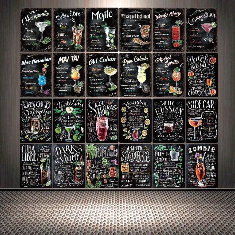 [Mike86] pintura de tiza para cóctel, cartel de estaño de Liber de CUBA, carteles Vintage para pared, regalo de decoración artística para LTA-3122 de café, 20*30 CM