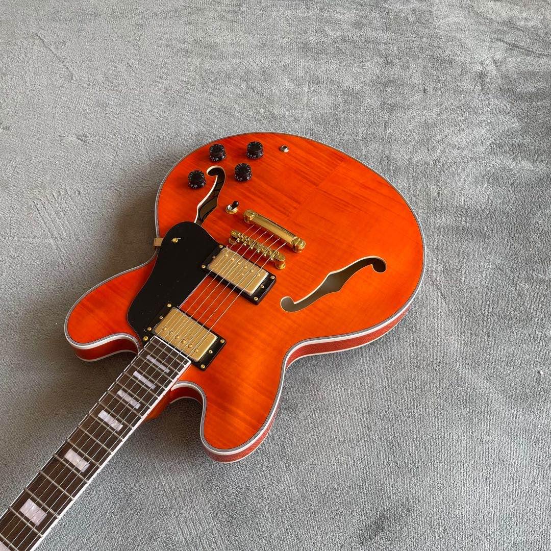 Jazz Electric Guitar.Tiger flame maple top jazz gitaar.Rosewood fingerboard.Handmade 6 stings F hollow body jazz guitarra. enlarge