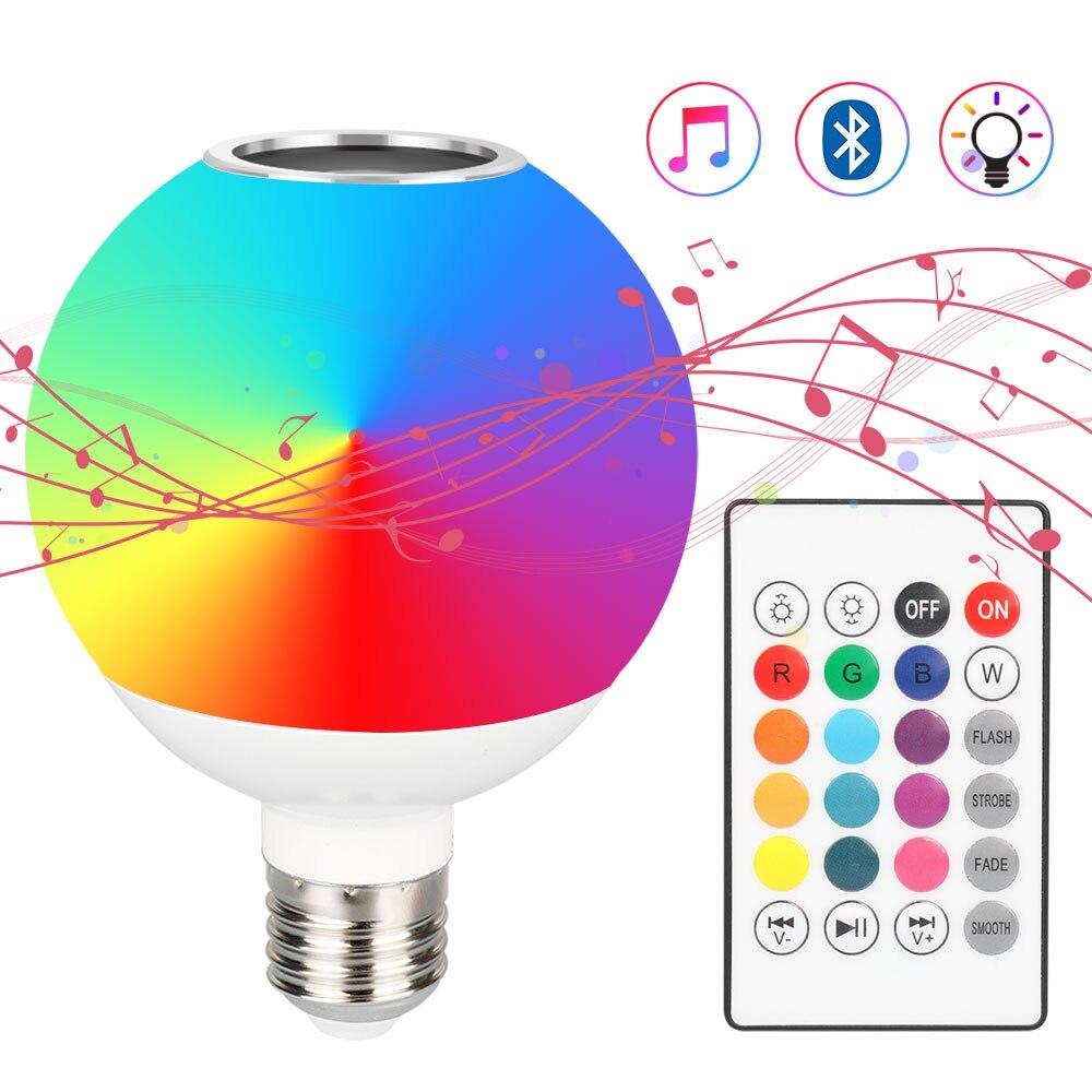Lâmpada led rgb inteligente, com controle remoto, bluetooth, sem fio, áudio, lâmpada alto-falante, mudança de cor, festa de natal, iluminação doméstica