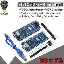 Promoción de 1 unidad para controlador arduino Nano 3,0 Atmega328, placa Compatible, módulo WAVGAT, placa de desarrollo PCB sin USB V3.0