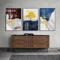 Peinture sur toile imprimee HD  1 piece  art de mode pour decoration de maison moderne  cerf dore et pierres  images murales de paysage