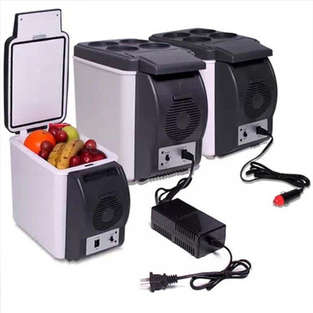 Nevera Mini para coche de 6L, nevera 2 en 1, nevera térmica portátil de 12V para viaje, nevera eléctrica, congelador con soporte de 4 agujeros
