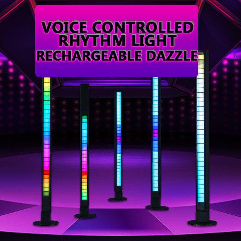 Пикап, освещение, атмосферный свет, RGB, Голосовая активация, красочная Голосовая активация, автомобильный рабочий стол, светодиодный звуков...