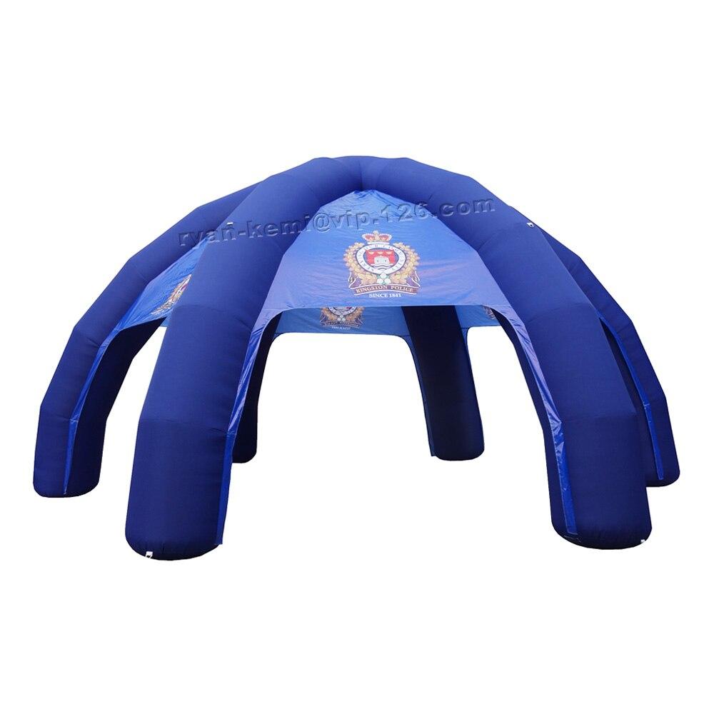 قبة عنكبوت زرقاء قابلة للنفخ بطول 8 أمتار ، مع شعار مخصص ، 6 أرجل ، مناسبة للإعلان في الهواء الطلق ، خيمة عملاقة قابلة للنفخ ، غطاء سرادق