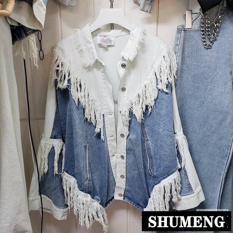 جاكيت جينز نسائي ، نمط ملابس الشارع ، كبير وممزق ، هيب هوب ، أزرق ، أبيض ، ريترو
