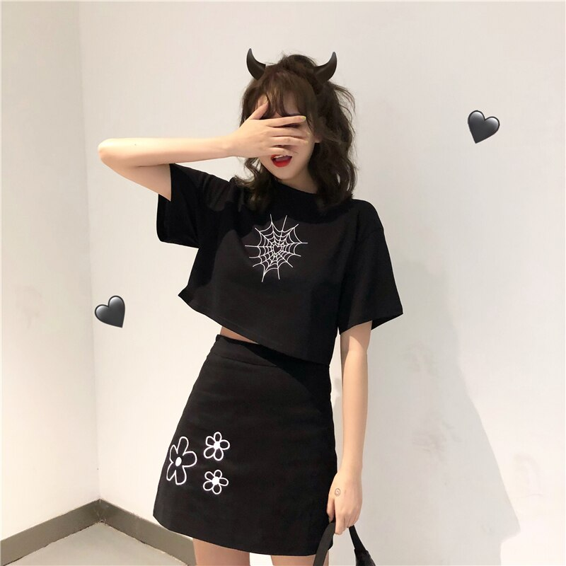 cotton Cute girl T-Shirt Spider Web Pattern Kawaii Harajuku tshirt Woman Clothes Short O-Neck Casual Loose tops Streetwear tee