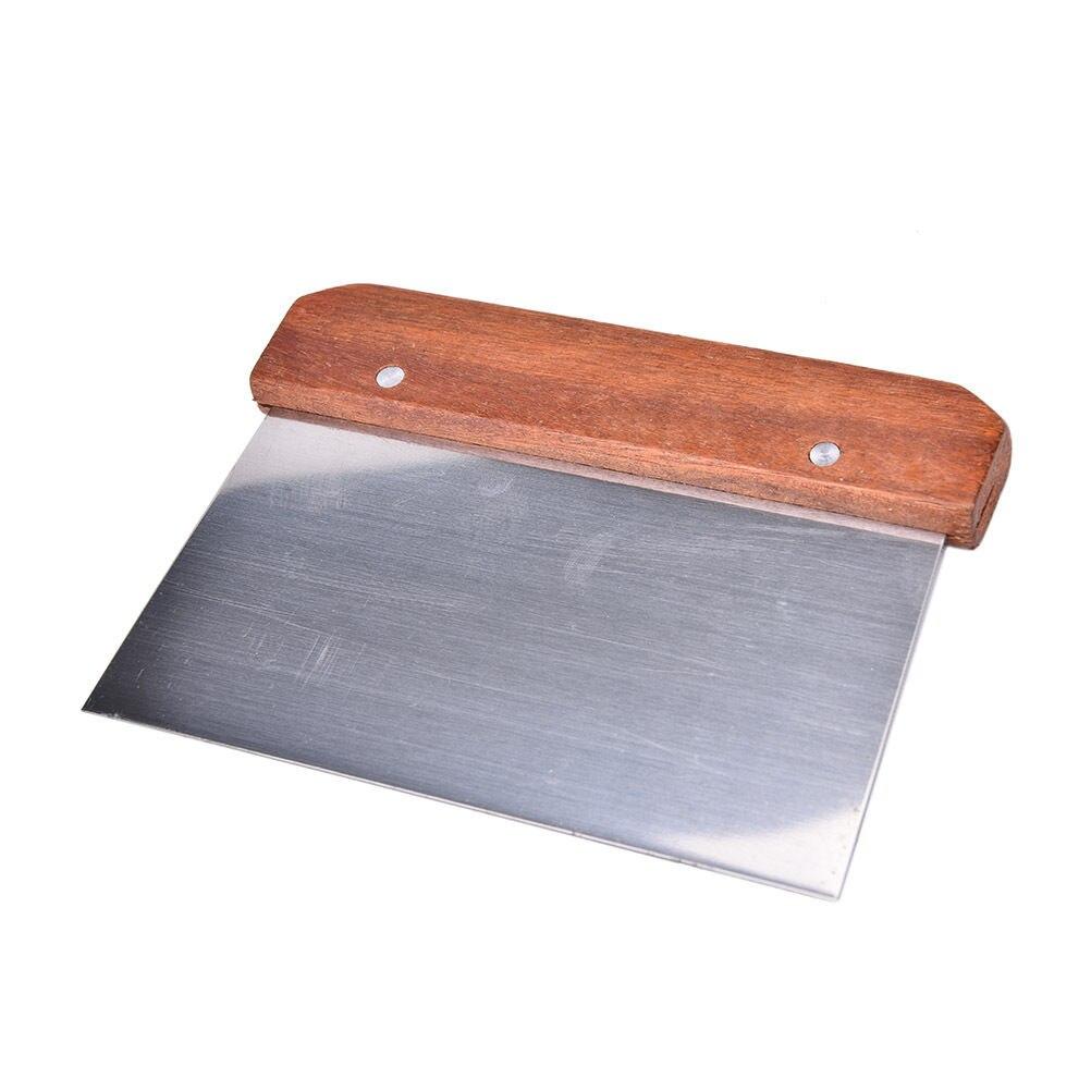 1 pieza Pasta espátula Pasta rascador de masa útil Acero inoxidable pastelería picador con mango de madera para hornear