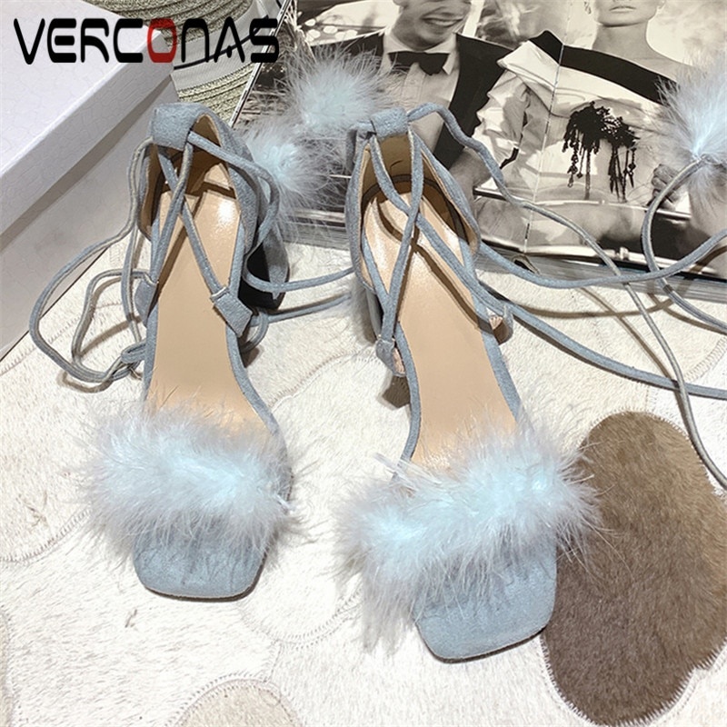 VERCONAS Woman Pumps Wedding Shoes 2020  New  Arrival  Women  Sandals Summer Cross-Tied SqaureToe Square High Heels Shoes Woman