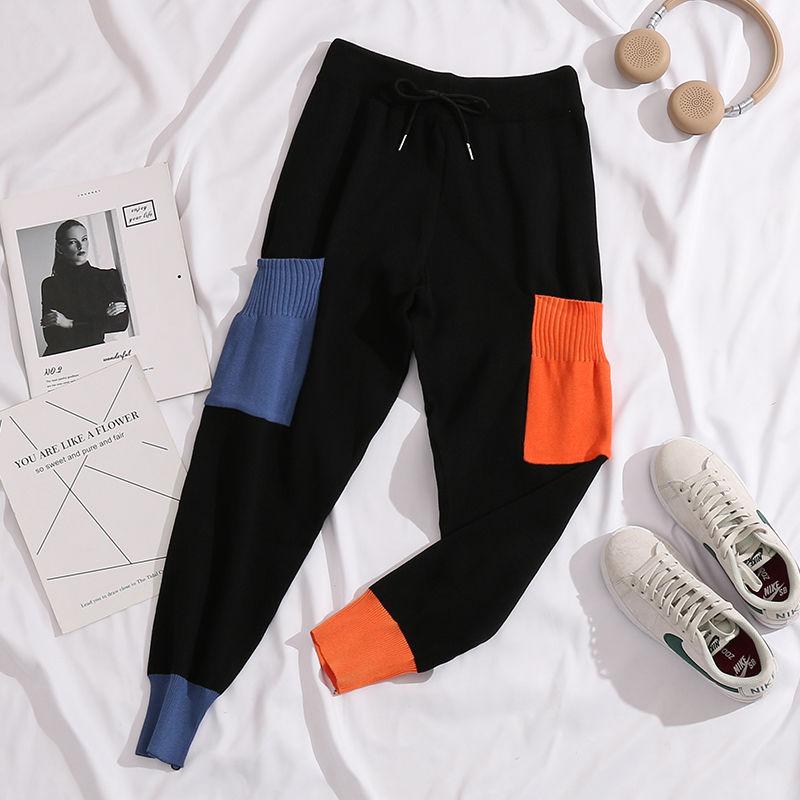 Mulheres casual harem calças soltas para mulheres calças de malha outono inverno cor sólida camisola calças com bolsos cor ma