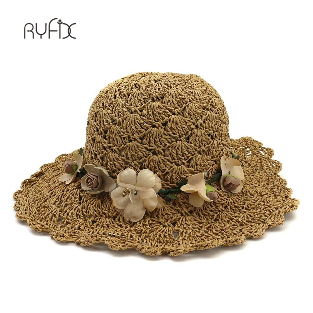 Mulheres verão grande borda dobrável chapéus de sol elegante artesanal flora crochê palha chapéu feminino praia proteção solar chapéu ha211