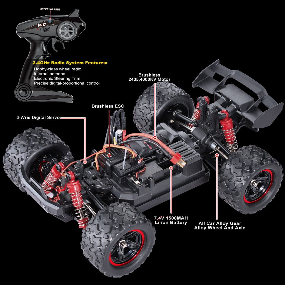 HS RC Car 1/18 2.4G Brushless High Speed RC Car Off Road Vehicle Models Full Proportional RC Toys  Children's Gifts enlarge