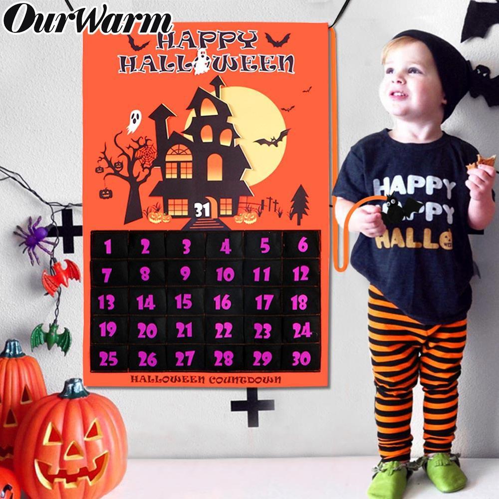 Nuestra cálida decoración de fiesta de Halloween 60x90cm tela fieltro Halloween cuenta regresiva señal fecha 1-31cuenta atrás calendario