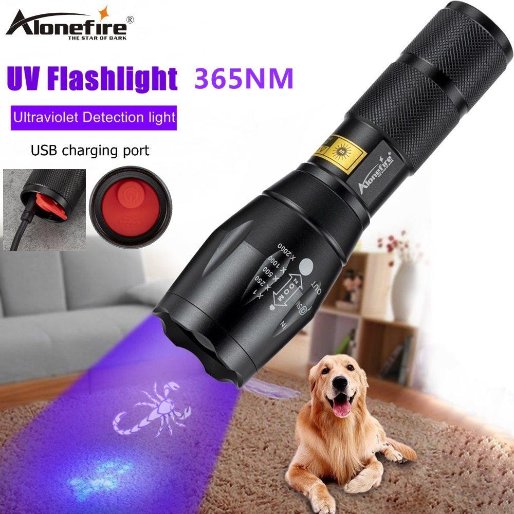 Linterna ultravioleta con Zoom G700-C y USB recargable de Alonefire, Detector de manchas de orina para mascotas, marcador de escorpión Para manchas de mascotas