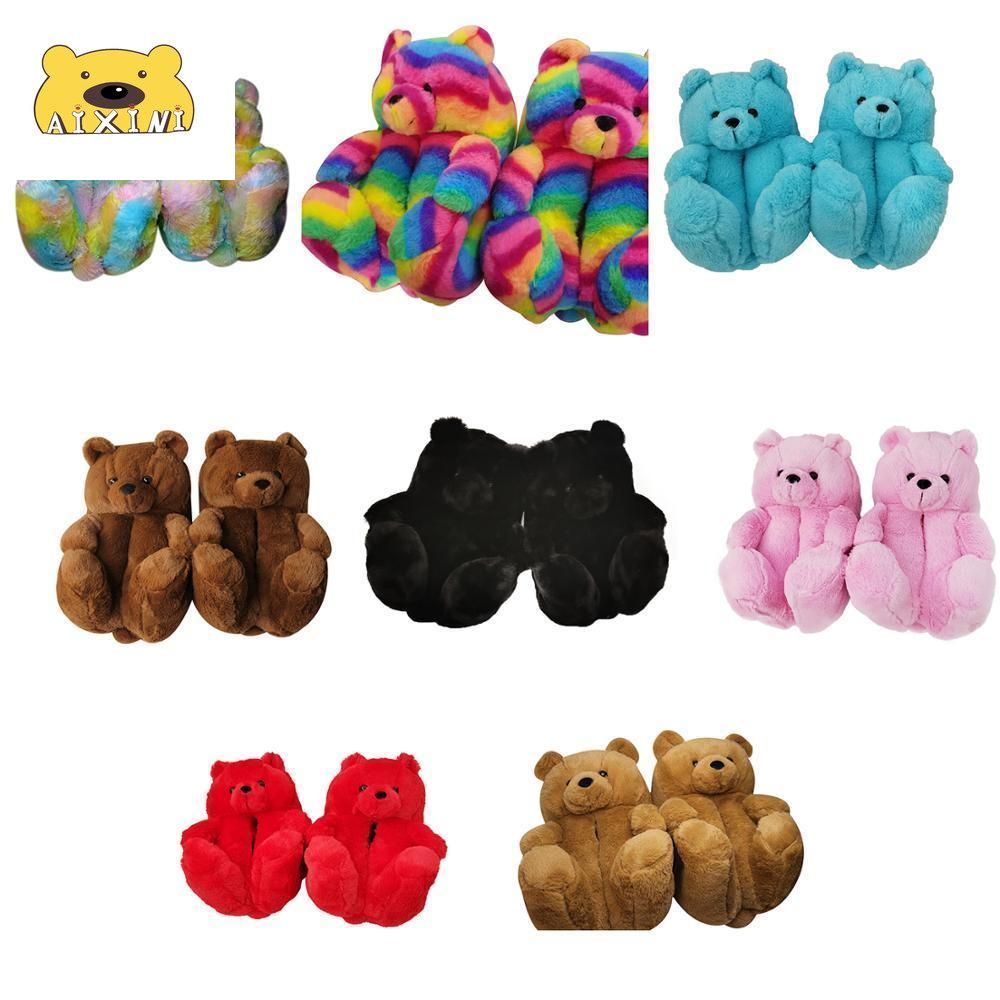 Teddy Bear Slippers Brown Teddy Slippers Women Indoor Home House Soft Antislip Faux Fur Cute Winter