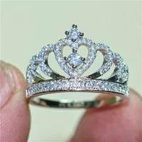 fashion 925 sterling silver crown ring finger luxury pave simulated diamond engagement wedding rings for women jewelry