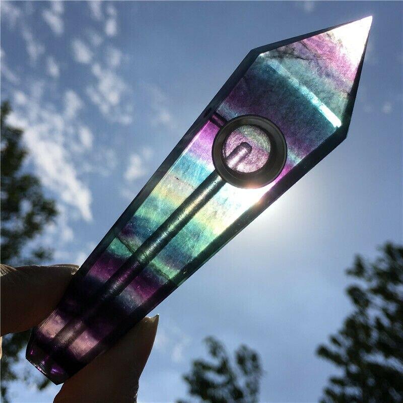 1pcs 100 milímetros Carb Tubos Rainbow Fluorita Natural Buraco Cristal de Quartzo Wand Ponto de Cura