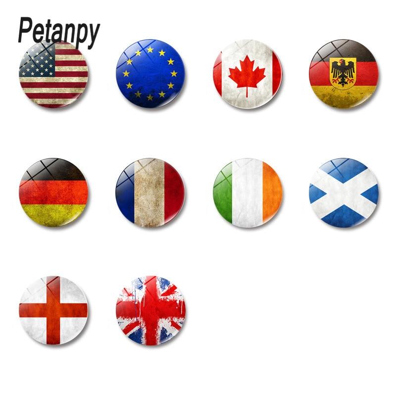 Imán de vidrio Retro para nevera de 30MM Bandera Nacional (Polonia, Checa, Eslovaquia, Hungría, Alemania, Austria, Suiza,) imán de cocina
