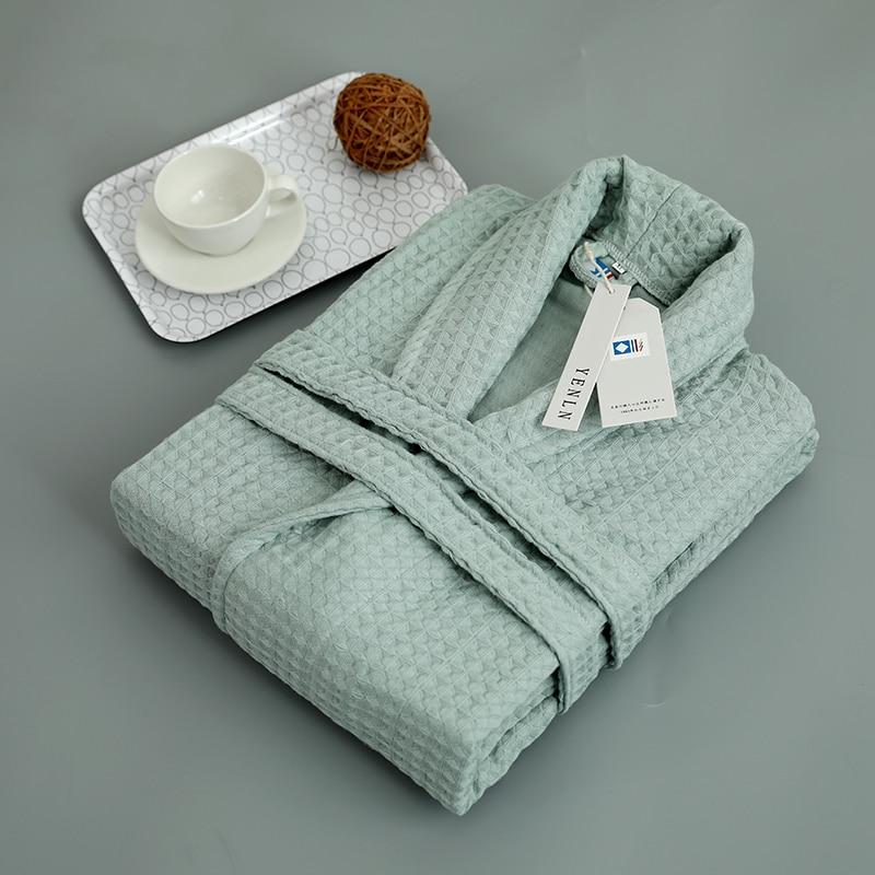 روب حمام أخضر 100% قطن من الشاش ، رداء حمام ناعم التهوية ، رداء حمام غير رسمي للمنزل ، على الطراز الياباني