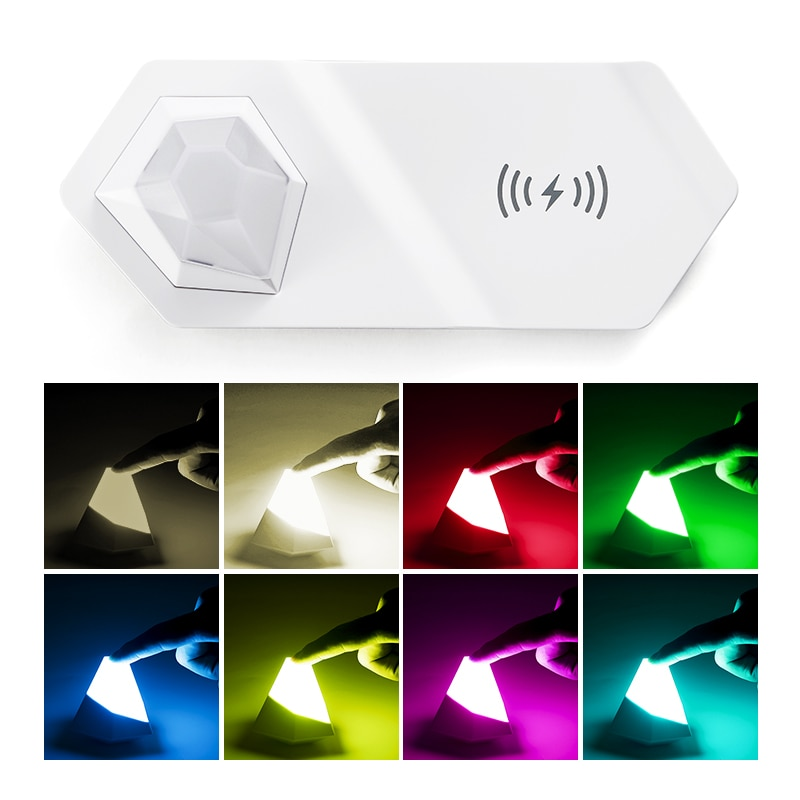 RGB luz LED de noche de diamante 2 en 1 lámpara de noche cargador de luz multifunción USB recargable inalámbrico rápido cargador regalo de vacaciones