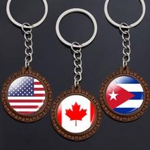 Flag Key Chains North America Canada America Mexico Jamaica Bahamas Cuba Barbados Flag Glass Dome Keychain Wooden Trinket