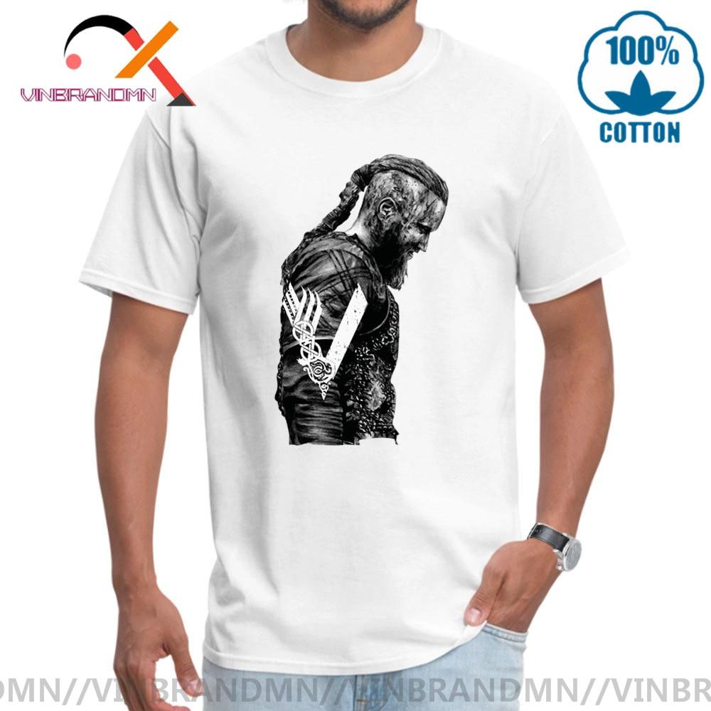 Retro Wars camisetas rey Ragnar Lothbrok vikingos hombre algodón orgánico mangas cortas camiseta de gimnasio cuello redondo Hipster camiseta Homme