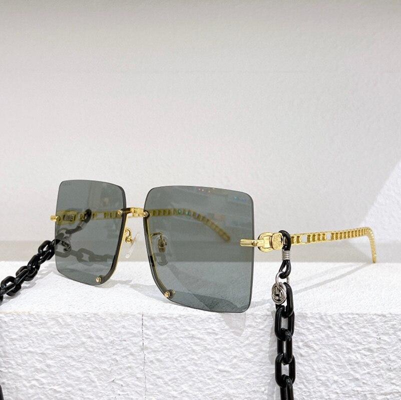 بدون إطار مربع اللونية رمادي بني عدسة النظارات الشمسية النسائية 0661 موضة بسيطة نظارة بإطار معدني