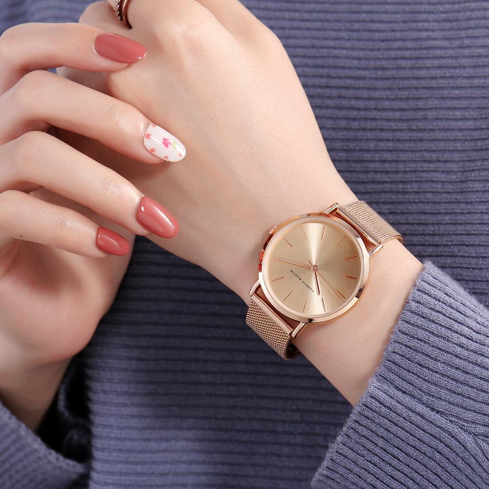 Full Rose Gold 1 Set Bracelet Watch Japan Quartz Creative Design Waterproof Stainless Steel Mesh Ladies Watches Relogio Feminino enlarge
