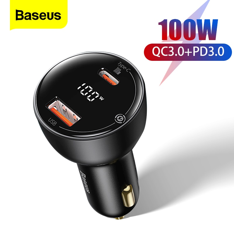 Baseus شاحن سيارة شحن سريع 100 واط USB نوع C ثنائي المنفذ PD QC 3.0 السيارات شحن سريع ل فون سامسونج شاحن الهاتف المحمول