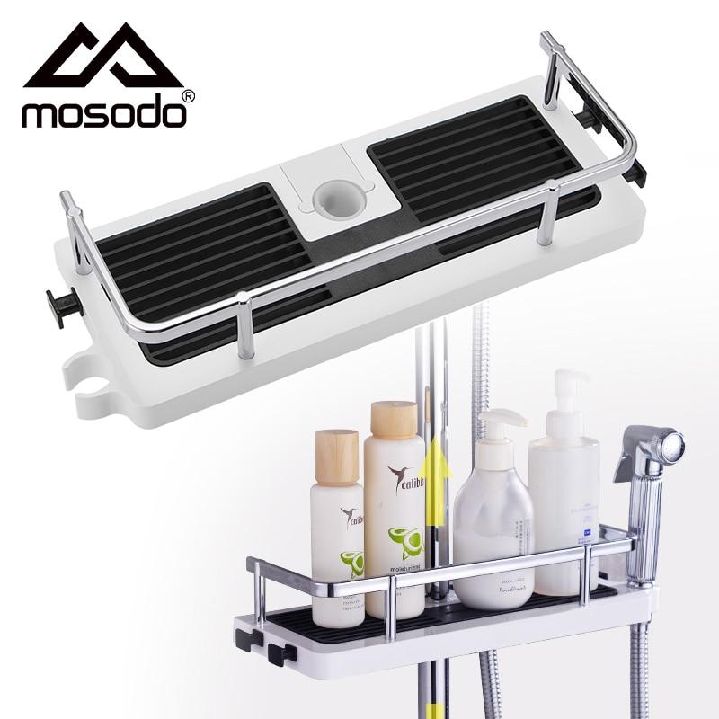 Zuhany tároló állvány szervező fürdőszoba oszlop polcok sampon tálca állvány egyszintű, nincs fúrás emelő rúd zuhanyfej tartó