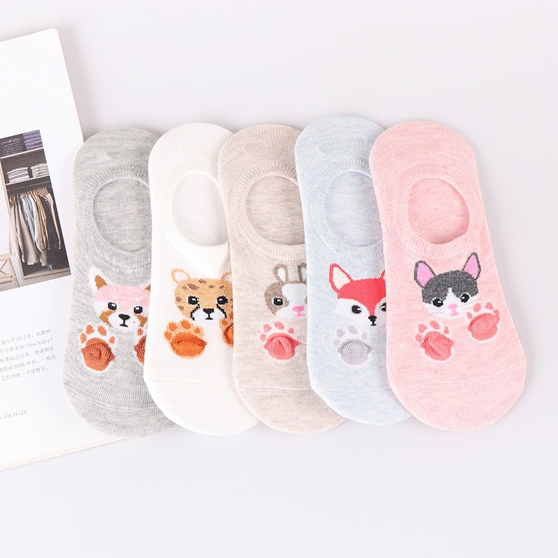 5 Pairs Women's Short Socks Cute Lovely Kawaii Cartoon Sweet Cotton Women Socks Casual Women Ankle Socks Funny Socks Female