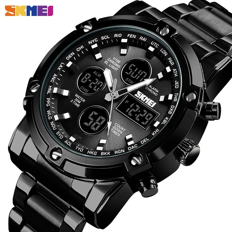 SKMEI Digital Quartz Watch Men Three Time Quartz Wrist Mens Watch Countdown Steel Strap Wristwatch Clock Relogio Masculino 1389