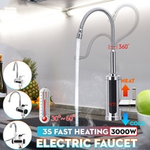 3000W 220V Electric Kitchen Flow Water Heater Tap Instant Hot Water Faucet Heater Cold Heating Tankl