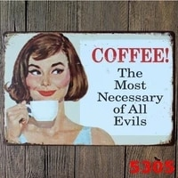metal tin sign poster wall plaque coffee most necary of all evils pin up girl tin sign wall decor cafe display